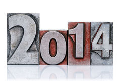 2014 in oud letterzetsel dat op wit wordt geïsoleerd Stock Afbeelding