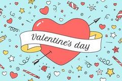 Oud lint met bericht Valentine Day en rood hart Stock Foto's