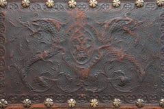 Oud maak leer in reliëf Stock Afbeeldingen