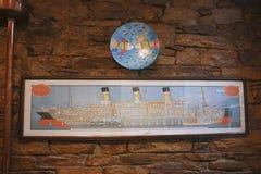 Oud Majestueus beeld van schip RMS Royalty-vrije Stock Foto's