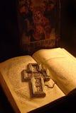 Oud manuscript met pictogram Royalty-vrije Stock Foto