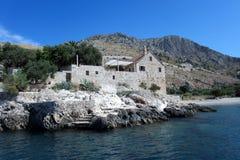 Oud mediterraan steenhuis Royalty-vrije Stock Foto's