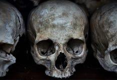 Oud menselijk schedelclose-up Donkere sombere foto royalty-vrije stock afbeelding