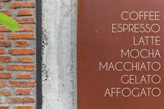 Oud menu van koffiekoffie stock foto