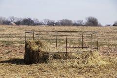 Oud metaal om de voeder van het baalhooi met resterend hooi op bodem uit in gebied in de wintertijd met bomen op fenceline op hor stock afbeeldingen