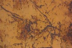 oud metaal roestig op bruine kleurenachtergrond Stock Foto