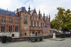Oud metselwerkcentrum van Brugge, Vlaanderen, België royalty-vrije stock foto