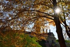 Oud, oud middeleeuws die kasteel met spiers en torens, muren van steen en baksteen door een beschermende gracht met water wordt o royalty-vrije stock afbeeldingen