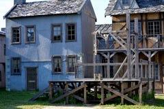 Oud middeleeuws dorp stock afbeelding