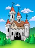 Oud middeleeuws kasteel in landschap royalty-vrije illustratie