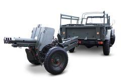 Oud militair voertuig met machinegeweer Stock Afbeelding