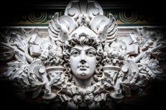 Oud monument die ernstig gezicht van de mens tonen. Stock Fotografie