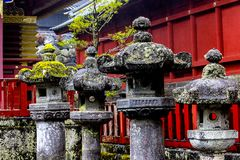 Oud Moss Covered Japanese Pagodas royalty-vrije stock fotografie