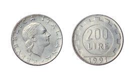 Oud muntstuk in Italië, 200 Liresjaar 1991 royalty-vrije stock foto