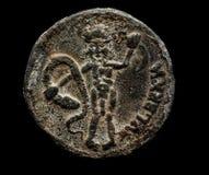 Oud muntstuk met persoon op het Royalty-vrije Stock Foto