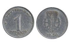 Oud muntstuk van Duitsland één die pfenning stock afbeeldingen