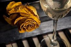 Oud nam achter wijnglas toe op piano Royalty-vrije Stock Afbeeldingen