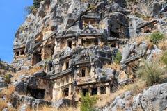 Oud Necropool, Demre, Turkije Stock Fotografie