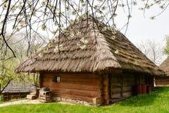 Oud Oekraïens huis met stro royalty-vrije stock foto's