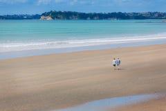 Oud paar die langs een strand lopen stock foto's