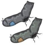 Oud paar doorboorde sokken met flarden stock illustratie