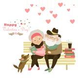 Oud paar in liefdezitting op bank royalty-vrije illustratie