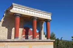 Oud paleis Knossos bij het eiland van Kreta stock afbeeldingen