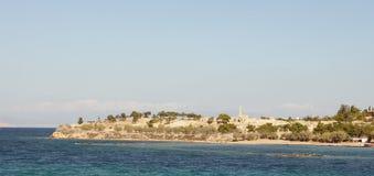 Oud panorama Aegina Royalty-vrije Stock Afbeeldingen