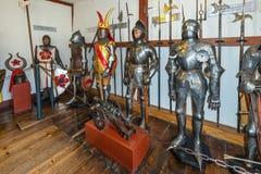 Oud pantser in het Marksburg-kasteel stock afbeelding