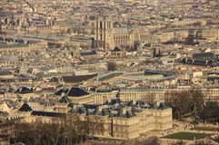 Oud Parijs - stadspanorama Stock Fotografie