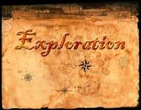 Oud Perkamentdocument met Word Exploratie Stock Afbeelding
