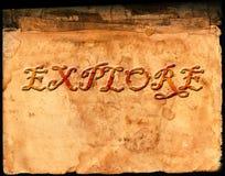 Oud Perkamentdocument met Word Exploratie Royalty-vrije Stock Fotografie