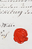 Oud perkamentmanuscript met wasverbinding Stock Fotografie