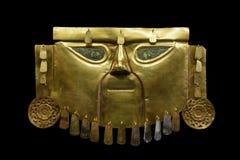 Oud Peruviaans die Masker van Goud wordt gemaakt royalty-vrije stock afbeelding