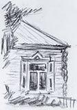 Oud plattelandshuisje, potloodtekening Royalty-vrije Stock Afbeelding
