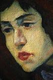 Oud portret van het meisje op een ruw canvas Royalty-vrije Stock Foto
