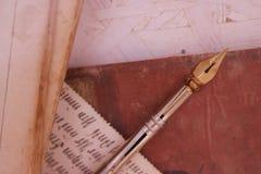 Oud potlood & handschrift stock afbeeldingen