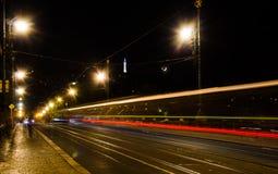 Oud Praag in nacht Stock Foto