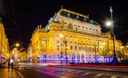 Oud Praag in nacht Stock Afbeelding