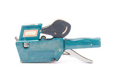 Oud prijsetiket, winkel het tarief kanon, zachte schaduw, op een witte backg Stock Afbeelding