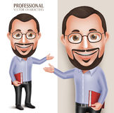 Oud Professor Teacher Man Vector Character Holding Boek Royalty-vrije Stock Foto's