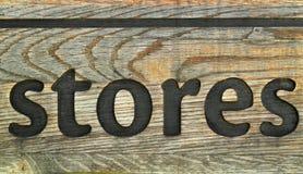 Oud roestig houten teken voor opslag. Royalty-vrije Stock Foto's