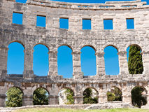 Oud Roman Amfitheater in Pula Stock Foto's