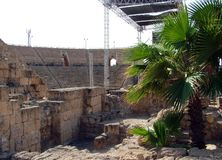 Oud Roman Amphitheater stock foto's