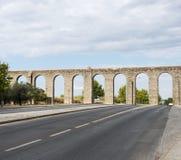 Oud Roman aquaduct in Evora. Royalty Free Stock Photos