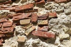 Oud Roman Brick Wall Royalty-vrije Stock Afbeelding