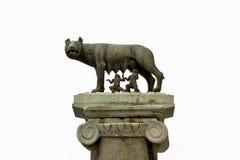 Oud roman brons van de zij-wolfszuigeling Romulus en Remus Stock Foto's