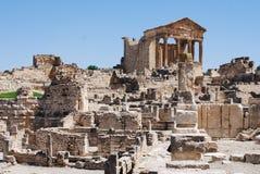 Oud Roman City van Dougga in Tunesië Stock Foto's
