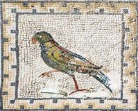 Oud roman mozaïek die een papegaai, Sevilla vertegenwoordigen Stock Afbeeldingen