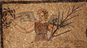 Oud roman mozaïek van een engel Stock Foto